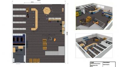 3D-Plan einer Werkshalle inkl. Einrichtungsplanung