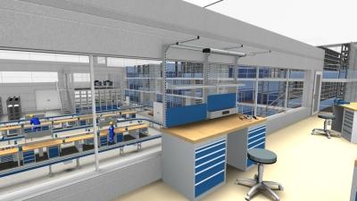 Arbeitsplatz mit Blick in eine Werkhalle aus dem Hause SSI