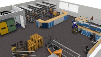 Ausstattung einer Fertigungshalle mit Arbeits- und Lagerplätzen
