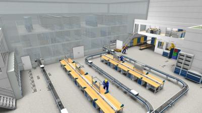 Darstellung einer 3D-Planung von SSI zur Einrichtung einer Produktionshalle