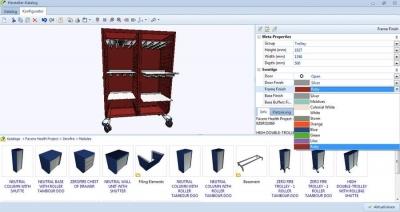Labor-Rollwagen von Favero konfiguriert mit dem pCon.configurator