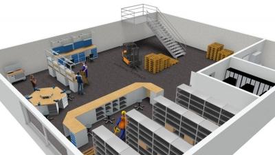 Lager- und Betriebseinrichtung in 3D