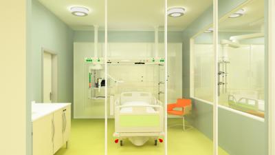 Intensivpflegebereich ausgestattet mit Lichtsystemen aus dem Hause Trilux