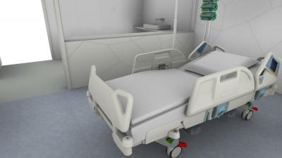 Pflegebett der Marke wissner-bosserhoff im Intensivpflegebereich