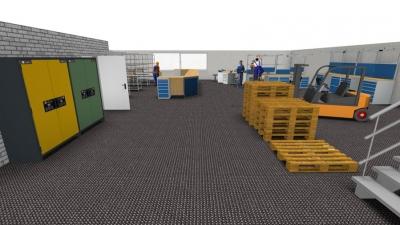 Perspektivische Darstellung der Ausstattung einer Betriebshalle