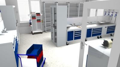 Planung einer Werkstatt durch SSI mit fotorealistischem Rendering